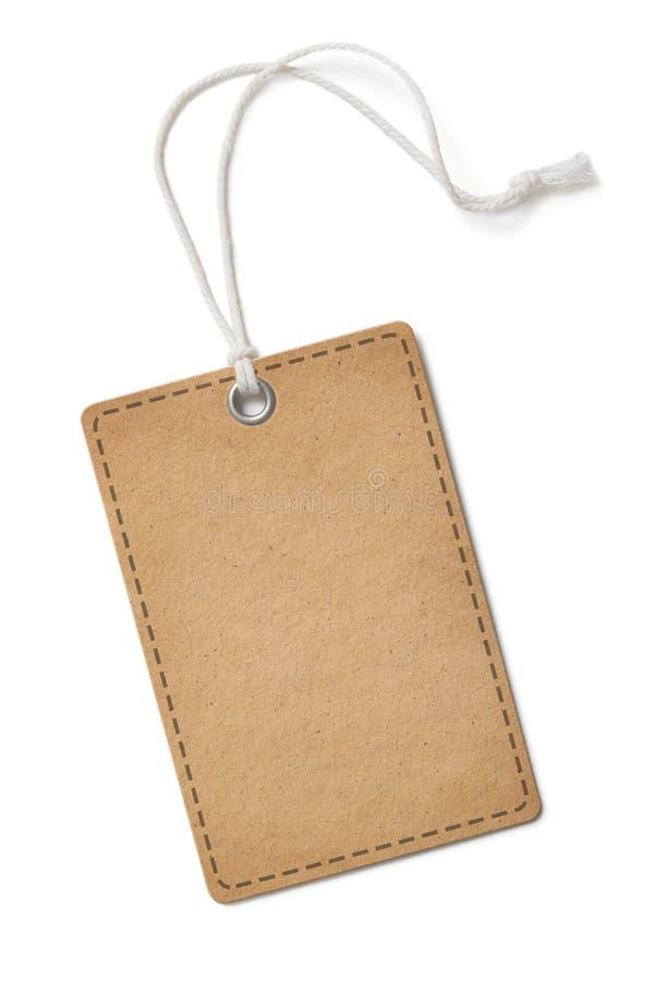 Etiqueta do papel da placa ou retângulo velho da etiqueta de pano com os cantos redondos isolados fotografia de stock