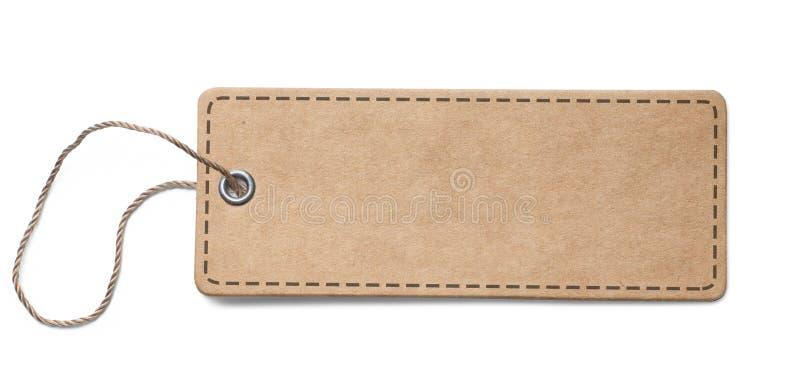 Etiqueta do papel da placa ou etiqueta velha de pano com os cantos redondos isolados imagem de stock