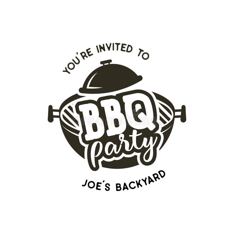 Etiqueta do partido do BBQ no estilo monocromático Convite grelhar, para assar o evento Isolado no fundo branco Preto do vintage ilustração royalty free