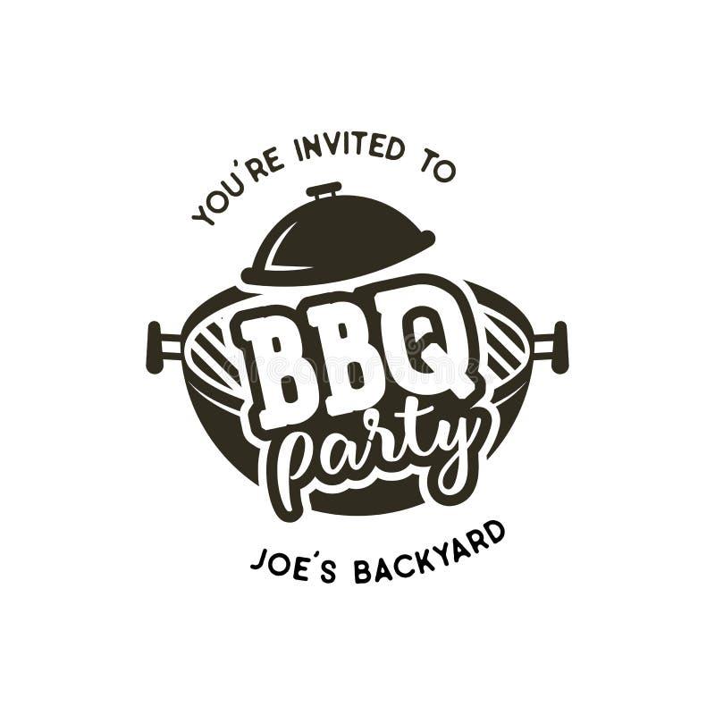 Etiqueta do partido do BBQ no estilo monocromático Convite grelhar, para assar o evento No fundo branco Preto do vintage ilustração royalty free