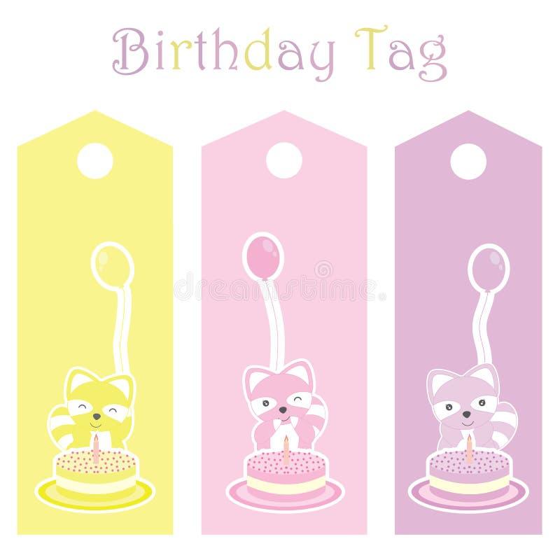 Etiqueta do presente de aniversário com os guaxinins coloridos bonitos ilustração do vetor