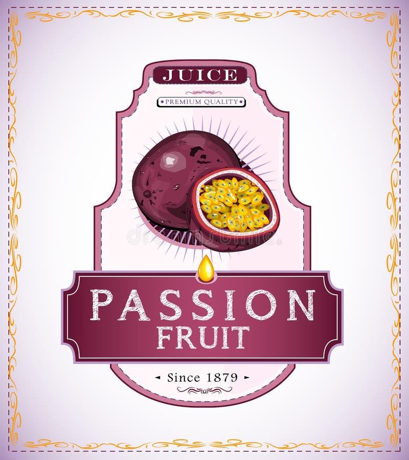 Etiqueta do produto do fruto de paixão ilustração do vetor