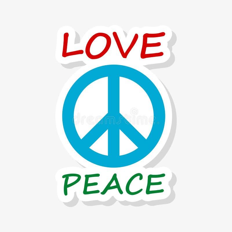Etiqueta do projeto do estilo da hippie do amor e da paz ilustração royalty free