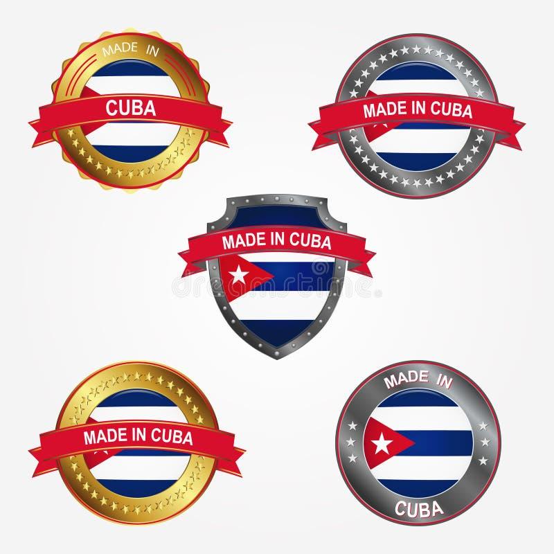Etiqueta do projeto do feito em Cuba Ilustração do vetor ilustração stock