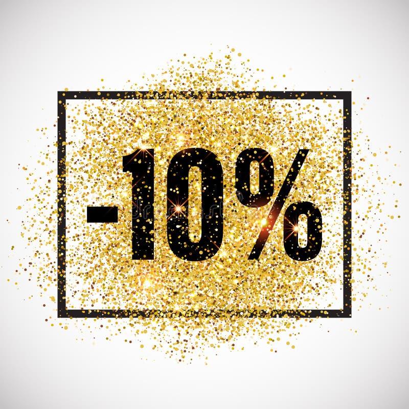 Etiqueta do promo do disconto Etiqueta dourada da venda do brilho ilustração do vetor
