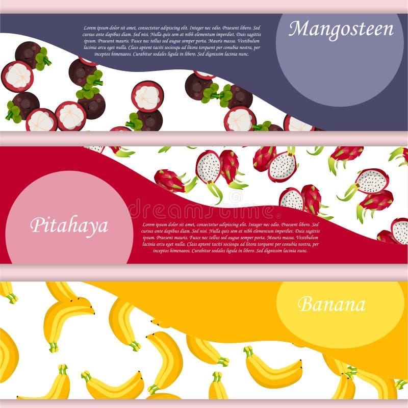 Etiqueta do quadrado do vetor, doce da banana, molho ou suco ilustração stock