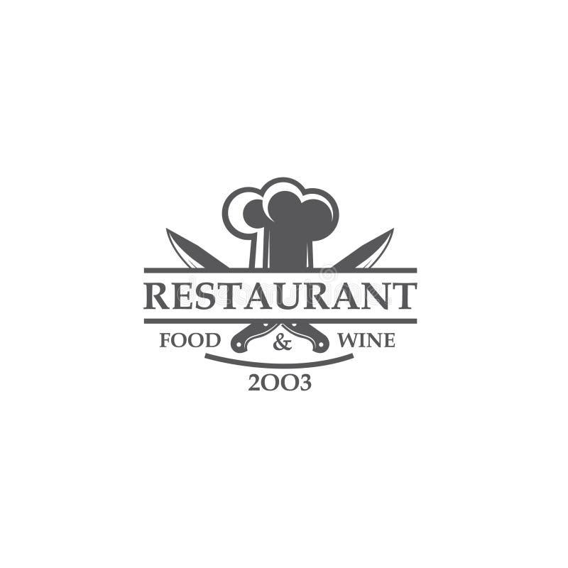 Etiqueta do restaurante com facas e chapéu do cozinheiro chefe ilustração do vetor