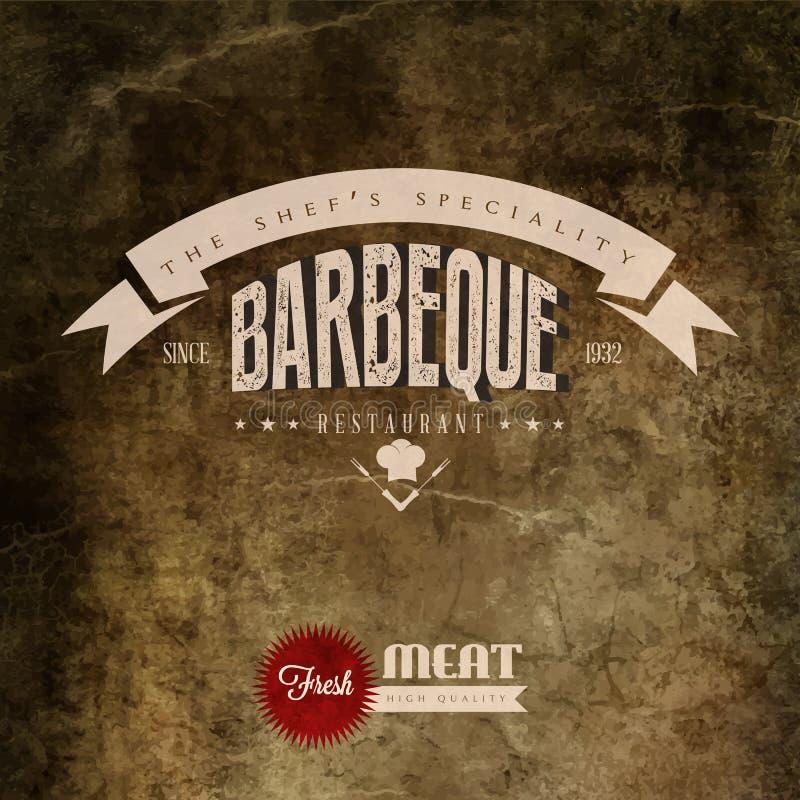 Etiqueta do restaurante da grade do BBQ do vintage ilustração do vetor