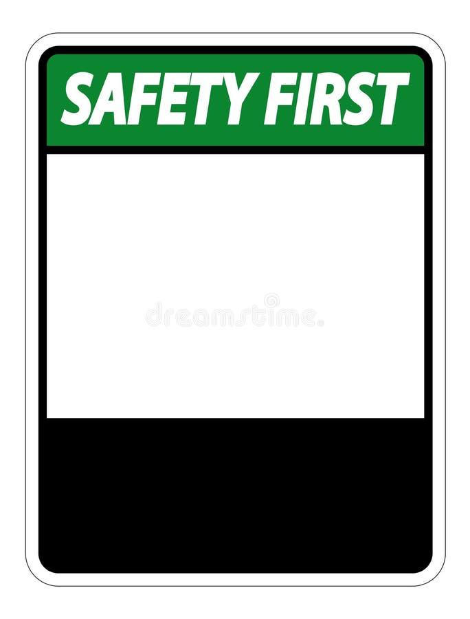 etiqueta do sinal da segurança em primeiro lugar do símbolo no fundo branco ilustração do vetor