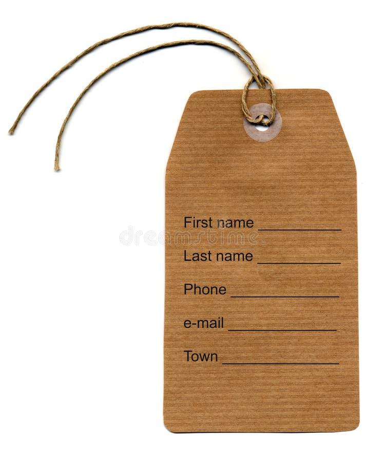 Etiqueta do Tag imagem de stock