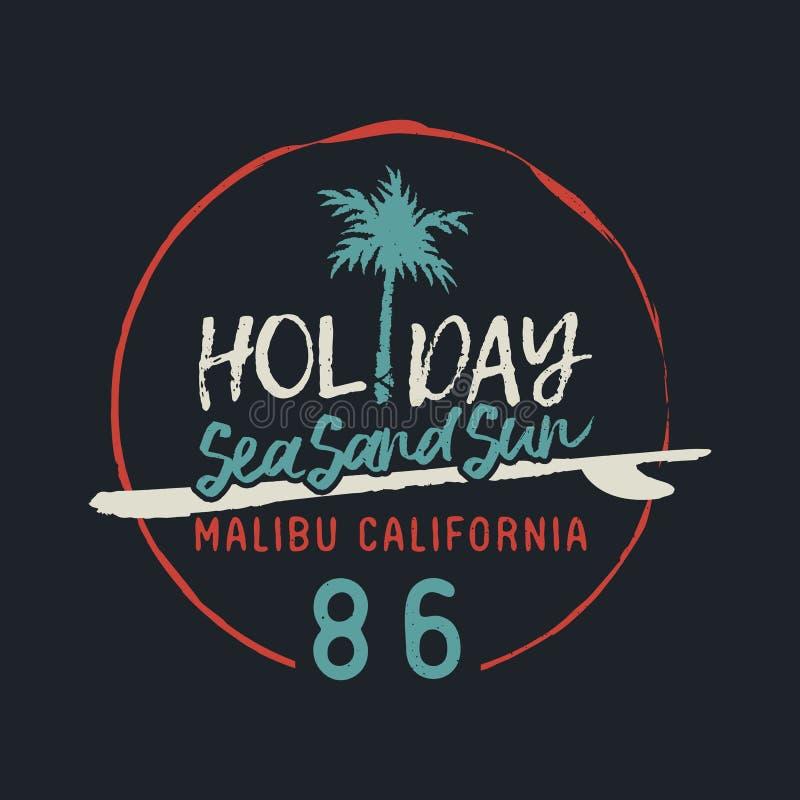 Etiqueta do texto do clube da ressaca do vintage de Malibu Califórnia ilustração stock