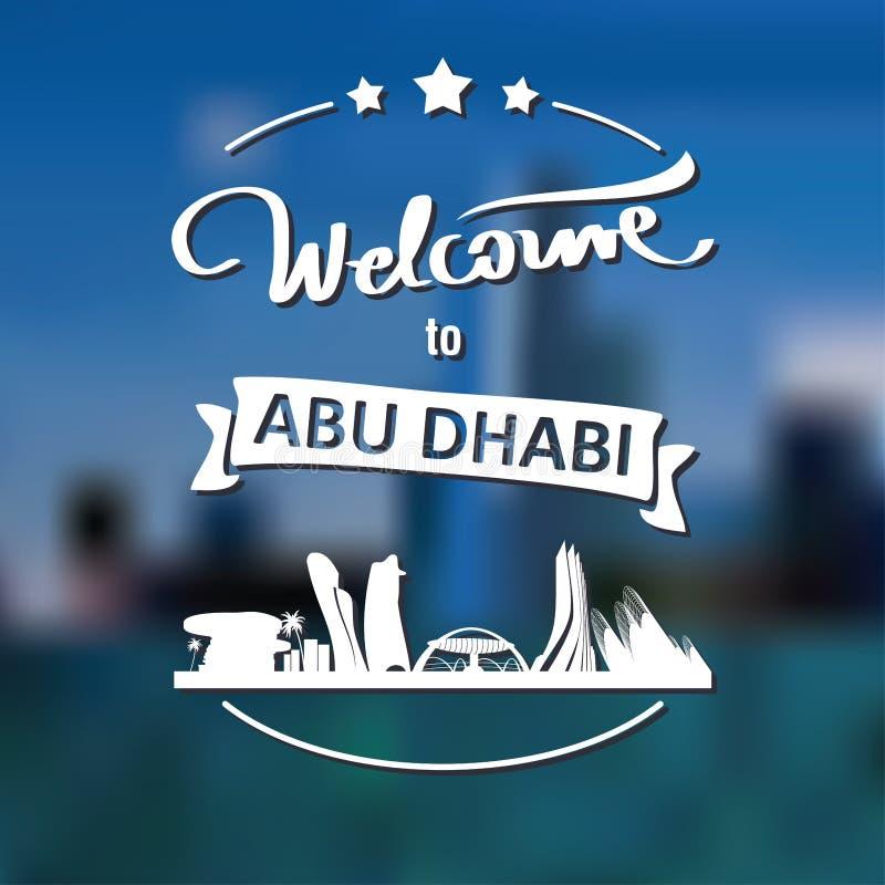 Etiqueta do turismo com skyline, boa vinda do texto a Abu Dhabi imagem de stock royalty free