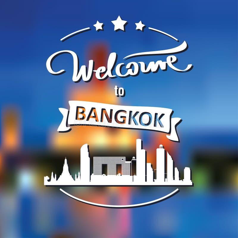 Etiqueta do turismo com skyline, boa vinda do texto a Banguecoque imagem de stock royalty free