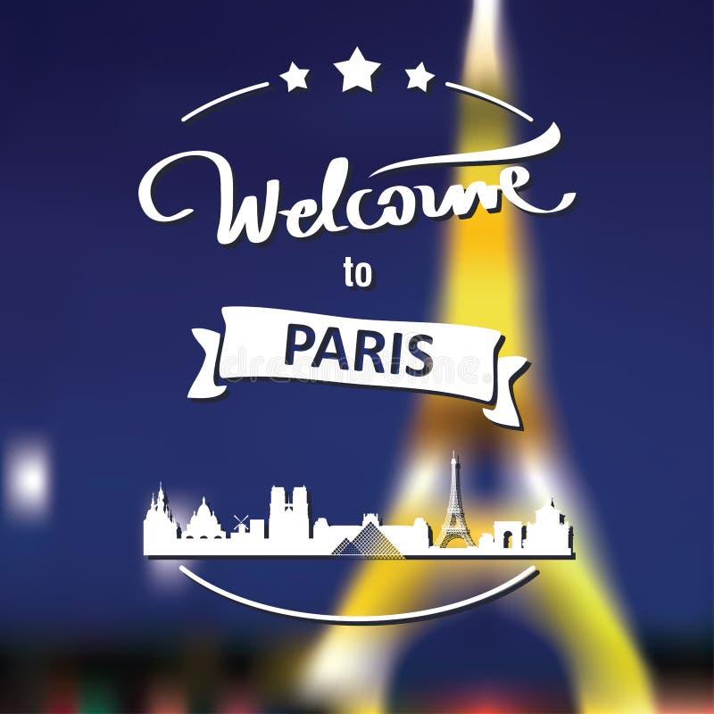 Etiqueta do turismo com skyline, boa vinda do texto a Paris fotografia de stock royalty free