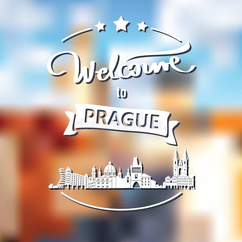 Etiqueta do turismo com skyline, boa vinda do texto a Praga foto de stock