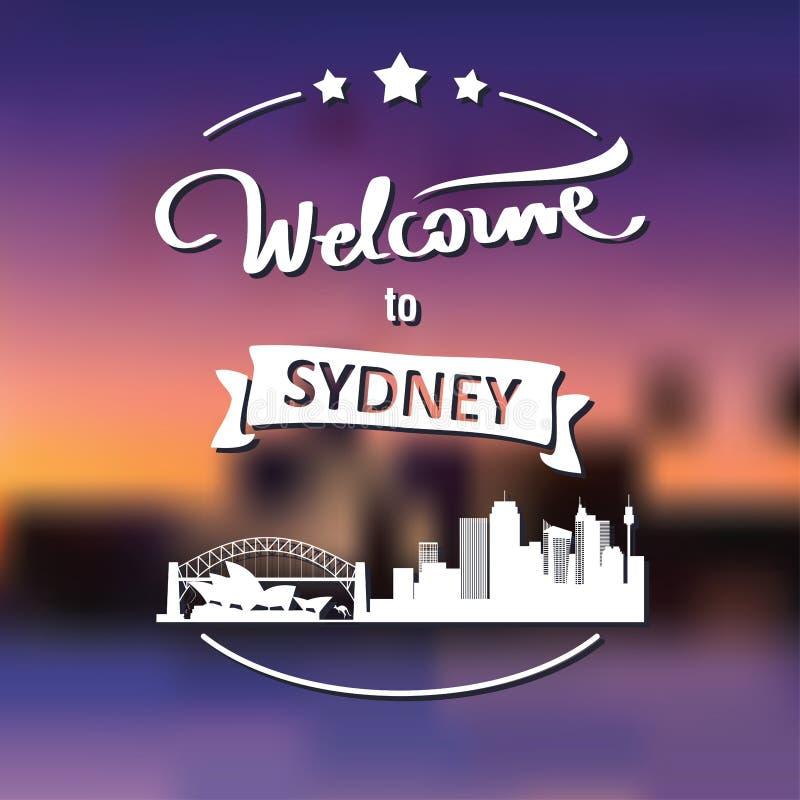 Etiqueta do turismo com skyline, boa vinda do texto a Sydney imagem de stock