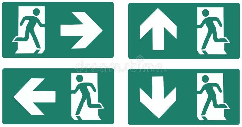 Etiqueta do verde da saída de emergência ilustração royalty free