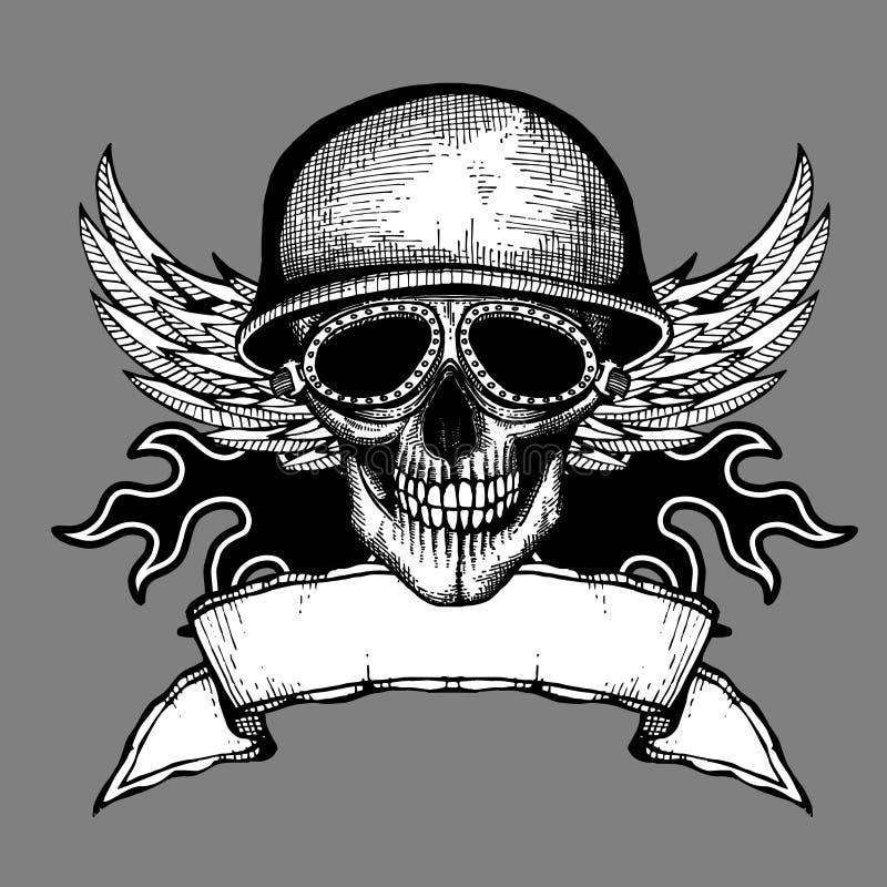 Etiqueta do vetor da motocicleta do motociclista do grunge do crânio do vintage ilustração royalty free