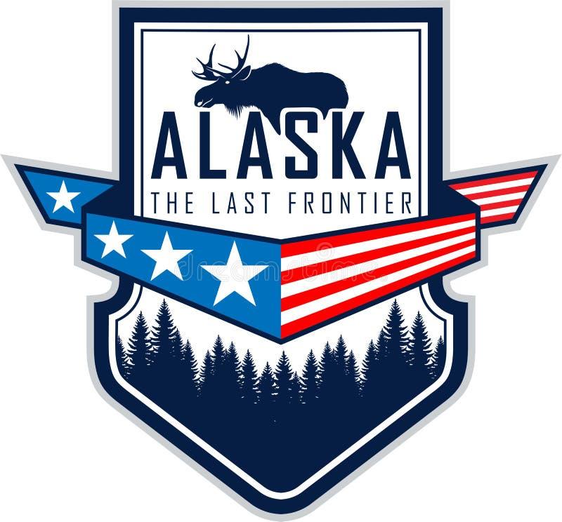 Etiqueta do vetor de Alaska com bandeira, floresta da floresta e alces ilustração royalty free