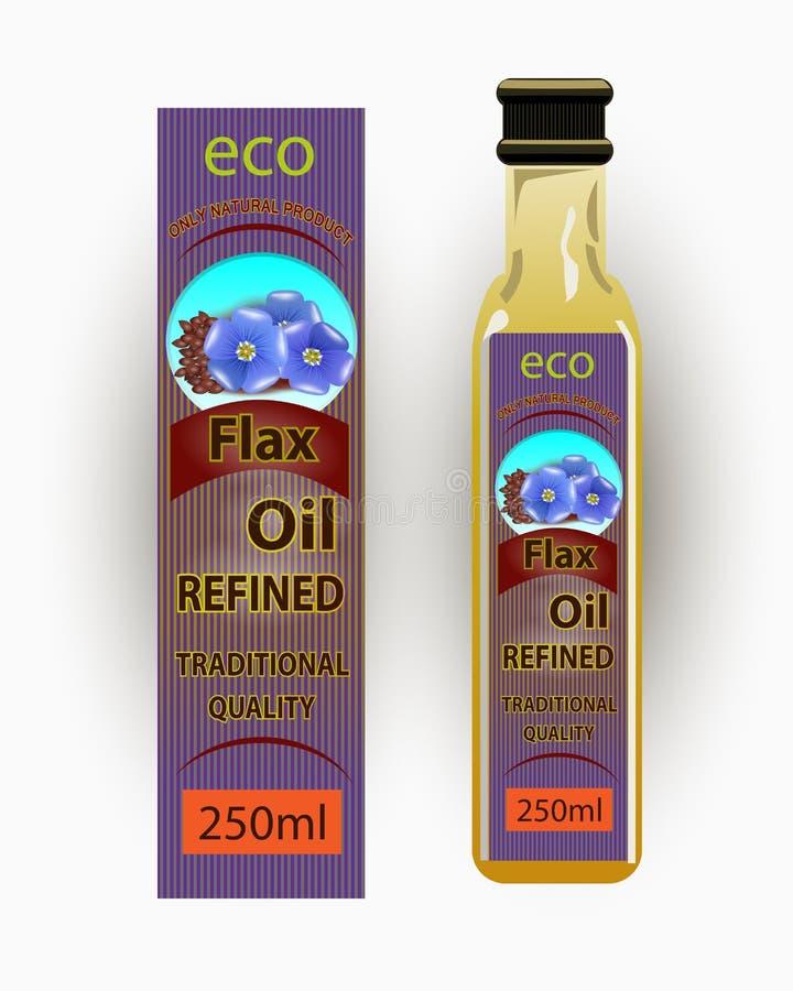 Etiqueta do vetor para o óleo de flaxseed refinado ilustração royalty free