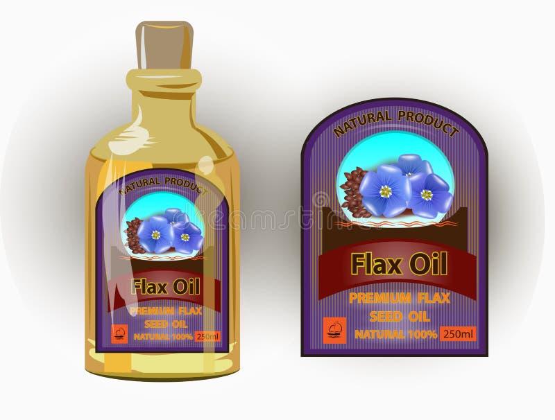 Etiqueta do vetor para o óleo de flaxseed refinado ilustração do vetor
