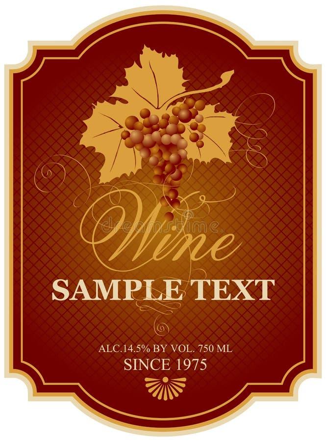 Etiqueta do vinho com grupo de uvas ilustração royalty free