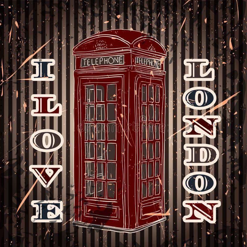 Etiqueta do vintage com a caixa de telefone de Londres no fundo do grunge Cartaz retro no estilo do esboço 'mim ilustração royalty free