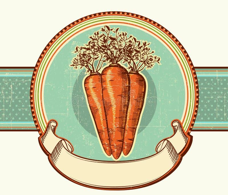 Etiqueta do vintage com cenouras. CCB da ilustração do vetor ilustração stock