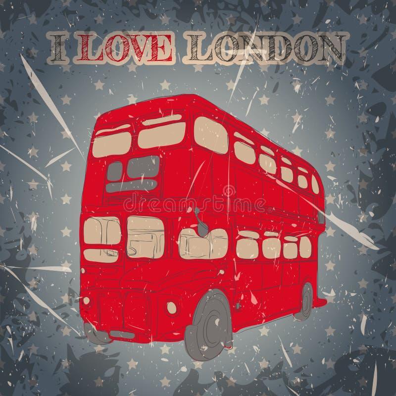 Etiqueta do vintage com o ônibus inglês no fundo do grunge Cartaz retro no estilo do esboço 'eu amo o lond ilustração royalty free
