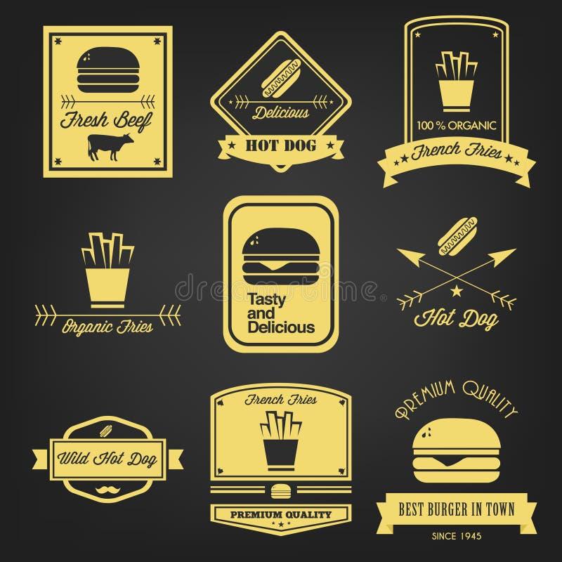 Etiqueta do vintage do fast food ilustração stock
