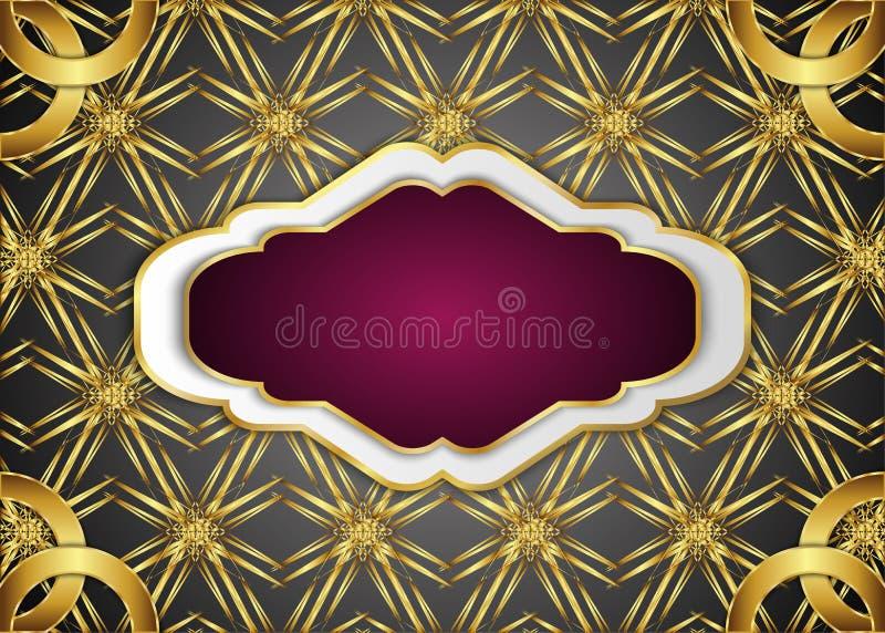 Etiqueta do vintage e fundo dourado escuro Placa para a mensagem ilustração royalty free