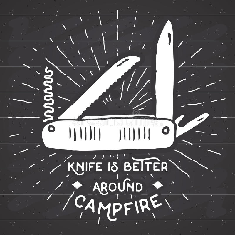 A etiqueta do vintage, faca de bolso multifuncional tirada mão, grunge textured a caminhada e ferramenta de acampamento do equipa ilustração stock