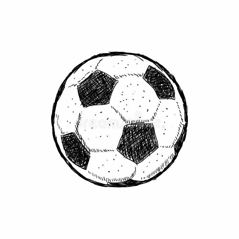 A etiqueta do vintage, futebol tirado mão, esboço da bola de futebol, grunge textured o crachá retro, cópia do t-shirt do projeto ilustração do vetor