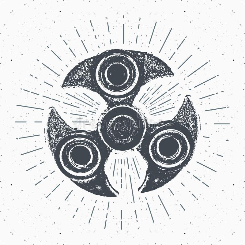 A etiqueta do vintage do girador, esboço tirado mão, grunge textured o crachá retro, cópia do t-shirt do projeto da tipografia, i ilustração do vetor