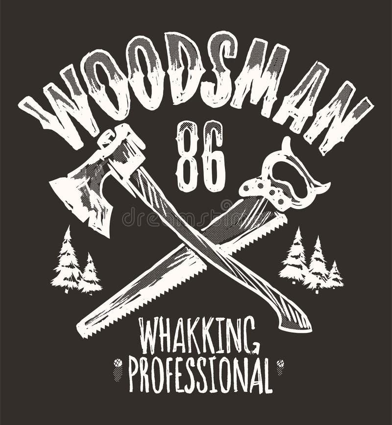 Etiqueta do vintage do lenhador, projeto da cópia do t-shirt do moderno ilustração stock