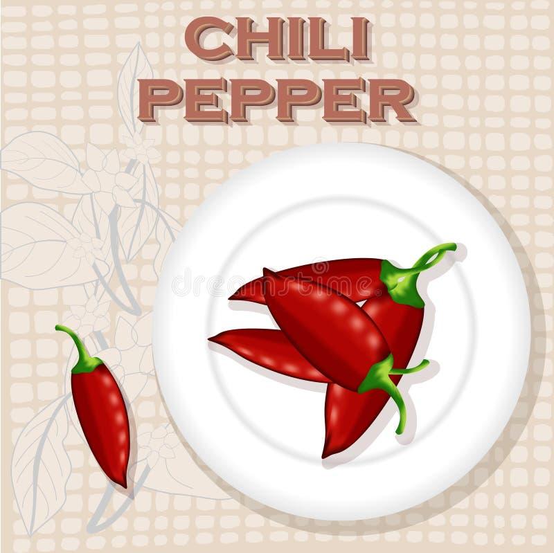 Etiqueta do vintage para Chili Pepper ilustração royalty free