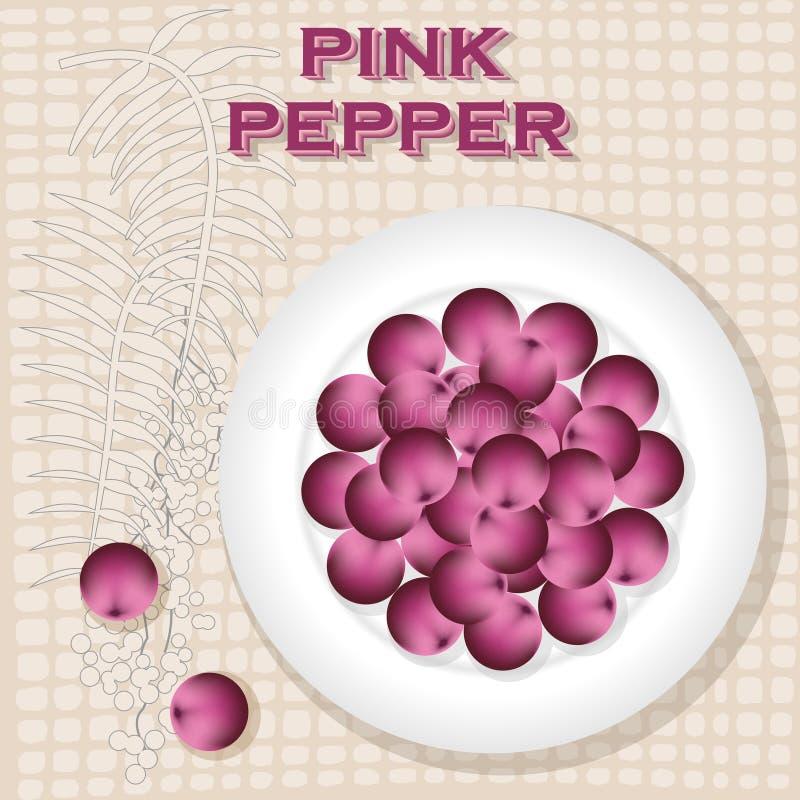 Etiqueta do vintage para a pimenta cor-de-rosa ilustração stock