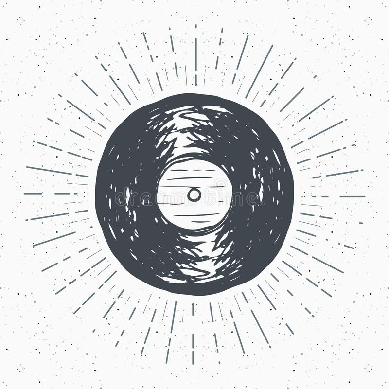 A etiqueta do vintage do registro de vinil, esboço tirado mão, grunge textured o crachá retro, cópia do t-shirt do projeto da tip ilustração do vetor
