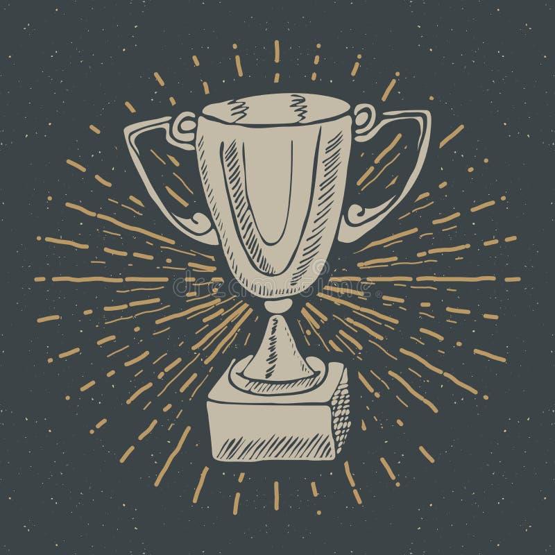 A etiqueta do vintage, troféu tirado mão do esporte, prêmio dos vencedores, grunge textured o crachá retro, cópia do t-shirt do p ilustração royalty free