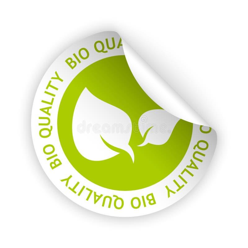 Etiqueta dobrada bio qualidade do vetor ilustração stock