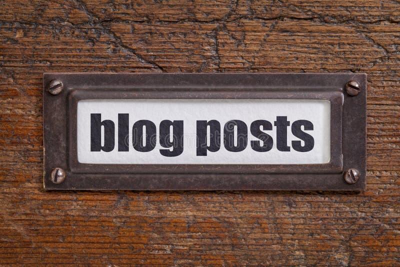 Etiqueta dos cargos do blogue - etiqueta do armário de arquivo fotografia de stock royalty free