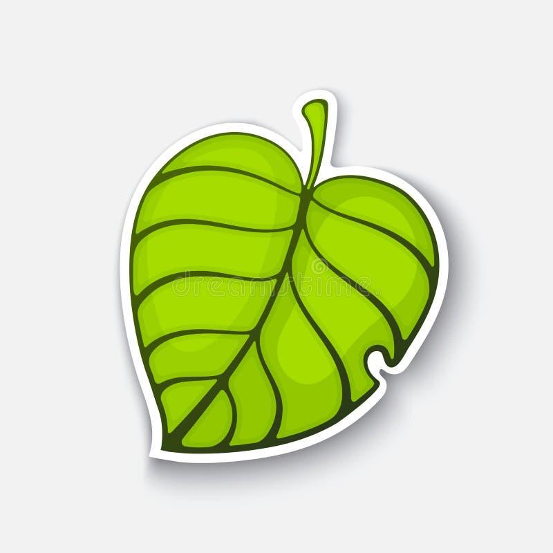 Etiqueta Dos Desenhos Animados Com A Folha Verde Da Arvore