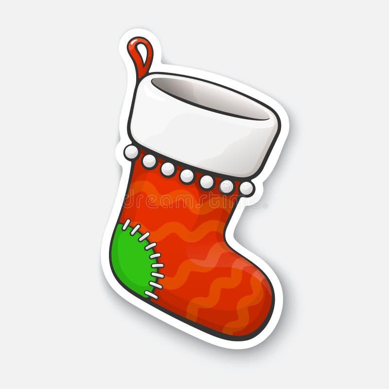 Etiqueta dos desenhos animados com a peúga do Natal no estilo cômico ilustração stock