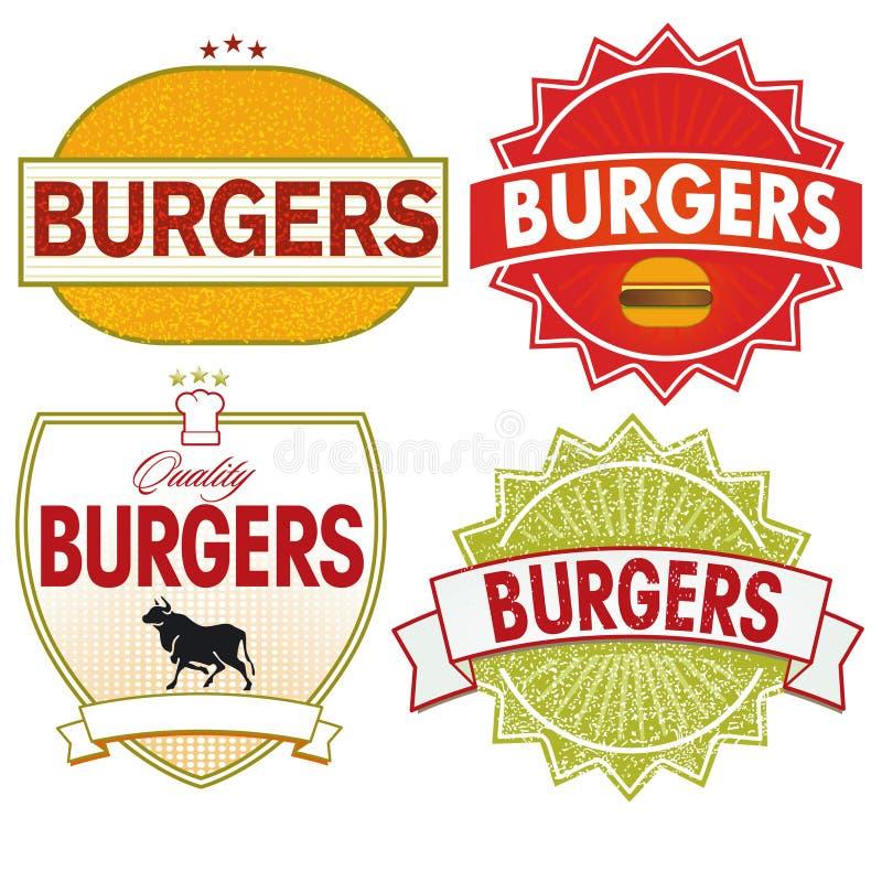 Etiqueta dos hamburgueres ilustração royalty free