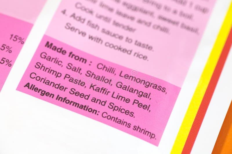Etiqueta dos ingredientes de alimento imagem de stock royalty free