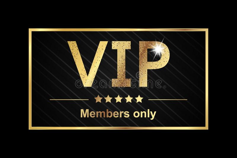 Etiqueta dos membros do Vip somente - bandeira dourada da ilustração do vetor sobre o fundo preto ilustração royalty free