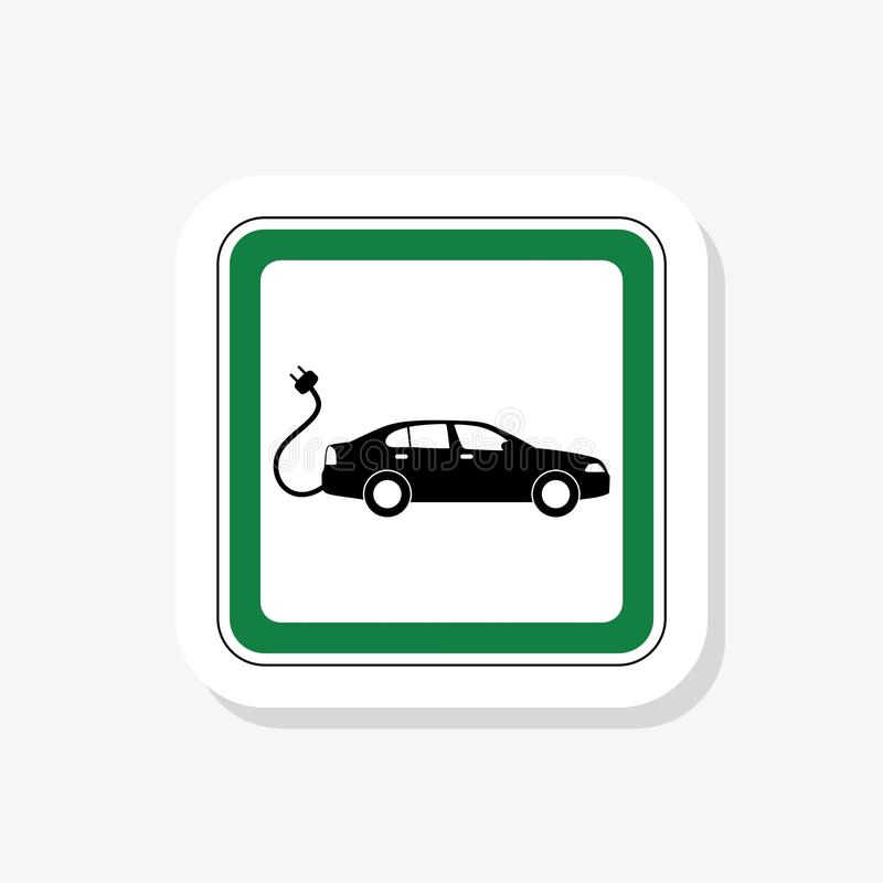 Etiqueta dos veículos híbridos Logotype verde Automóvel ou veículo elétrico amigável de Eco ilustração stock