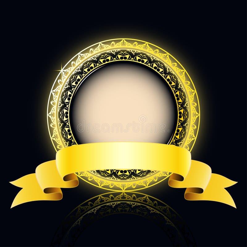 Etiqueta dourada com espaço para seu texto ilustração royalty free