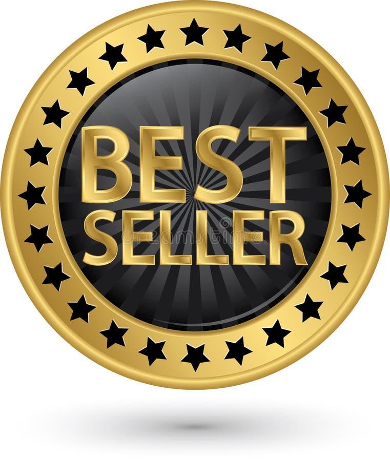Etiqueta dourada do melhor vendedor, ilustração do vetor ilustração do vetor