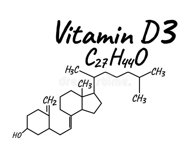 Etiqueta e ícone da vitamina D3 Logotipo da fórmula química e da estrutura ilustração stock